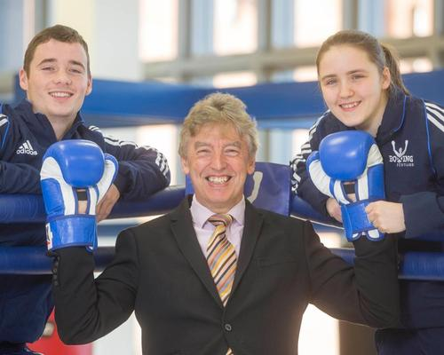 Mike Whittingham (centre) with Stephanie Kernachan and Reece McFadden, who won a bronze medal in boxing at the 2014 Glasgow Commonwealth Games
