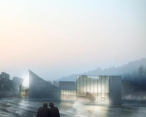 The gallery will be located in the centre of a lake among the mountains of southern China / Luxigon
