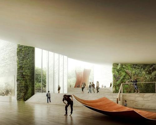The pavilion will include an art gallery with a dramatic view of the landscape outside / Luxigon