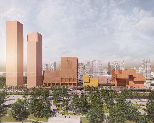 From left to right: Two residential towers, UAL's London College of Fashion, the Smithsonian, Sadler's Wells theatre and the V&A East / Queen Elizabeth Olympic Park