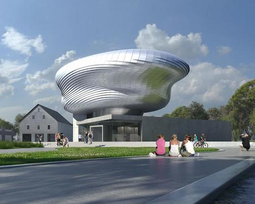 The House of Bread will be formed of a concrete rectangular base and freeform steel-clad shell / Coop Himmelb(l)au