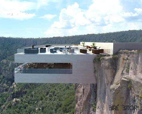 The cantilevered volume extends far out from the rock face / Tall Arquitectos