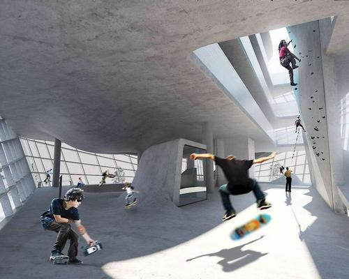 Guy Holloway Architects are developing the world's first multi-storey skatepark in the British port town of Folkestone / Guy Holloway Architects