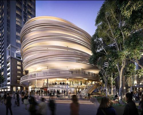 Kuma said: 'The wooden screen wraps the exterior of the building in a dynamic and exciting manner' / Lendlease