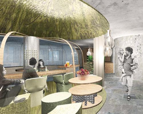 The restaurant will feature apple flowers on the wall and decorative harvesting equipment / Network of Architecture