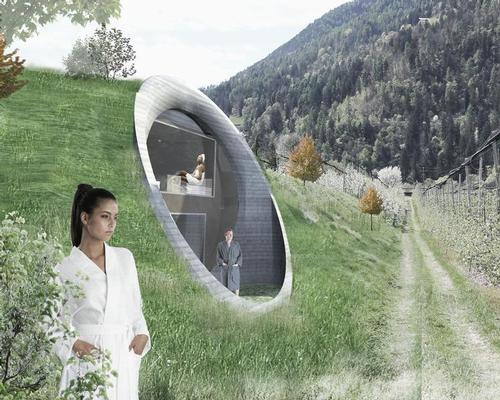 The spa will be built into the side of a tree-topped hill / Network of Architecture