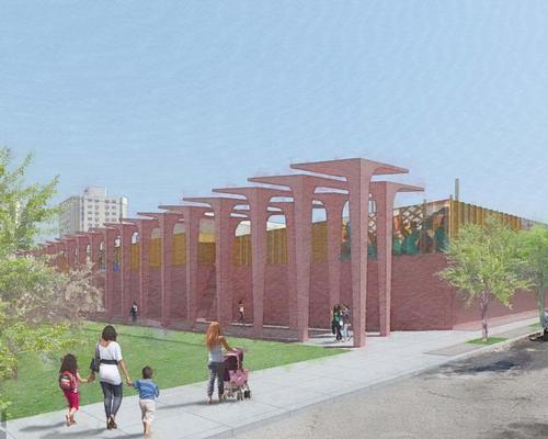 Artists will install sculptures near the top of the 48,000sq ft (4,460sq m) wall / David Adjaye Associates