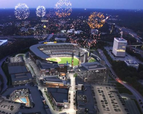 The 41,500-capacity SunTrust Park and a connected mixed-use facility called the Battery Atlanta will feature restaurants, bars and retail outlets, alongside a hotel, plaza and theatre / Atlanta Braves