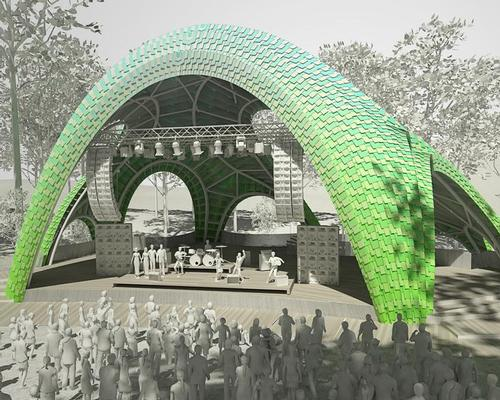 The structure's reconfigurable interior space will be able to host two performance spaces, and can be experienced and enjoyed by members of the public during their visits to the park / Marc Fornes/Theverymany