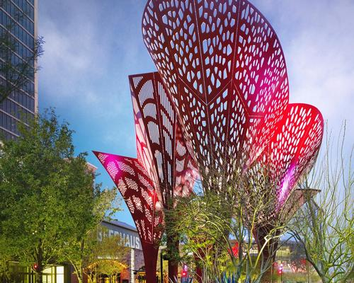 Towering shade structures double as art installations at The Park, Las Vegas, Nevada