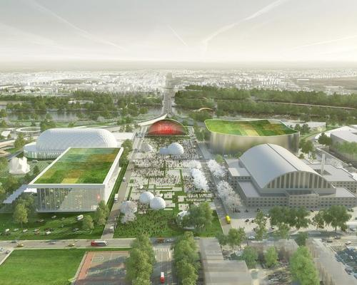 Facilities on campus could include an ice rink, splash park, amphitheatre, floating pool, science museum and urban beach / OMA with renderings by Robota