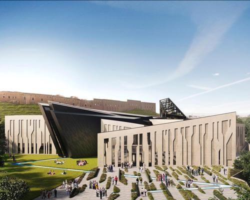 The museum has been envisioned as a 150,000sq ft (14,000sq m) structure surrounded by gardens at the foot of Erbil's Citadel / Hayes Davidson