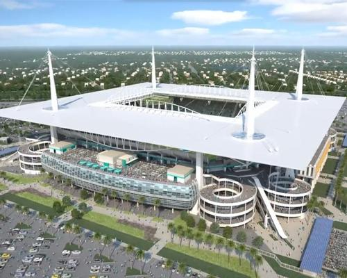 The HOK-designed square roof will be supported by four distinctive spiked steel pillars / Miami Dolphins
