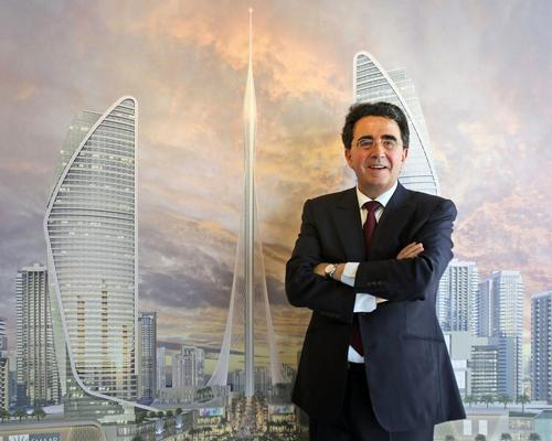 Santiago Calatrava at the unveiling of The Tower; a super-tall structure being developed in Dubai / AP Photo/Kamran Jebreili