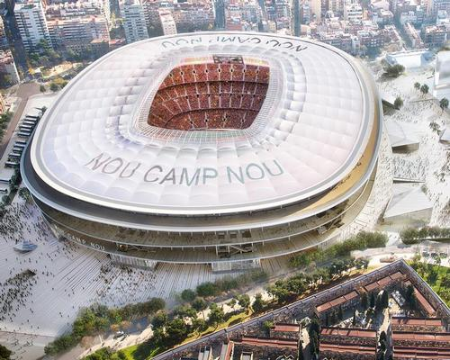The architects said: 'The great open space around the stadium is like a large piece of origami, carefully arranged not to disturb the flow of people into the stadium' / FC Barcelona