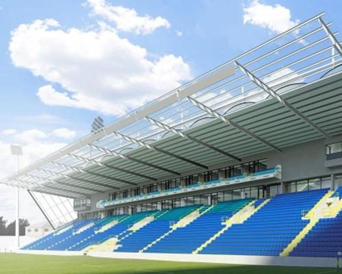 An artist's impression of the rugby stadium's redeveloped North–Stand