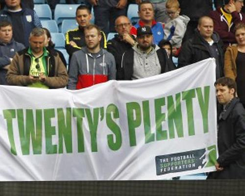 The FSF launched the Twenty's Plenty campaign in 2013 to lobby against high away ticket prices / Action Images