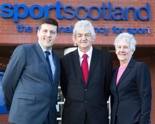 Mel Young (centre) became sportscotland chair in June 2016