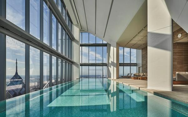 The spa and fitness centre on the 57th floor end in an infinity-edge pool with views across Philadelphia