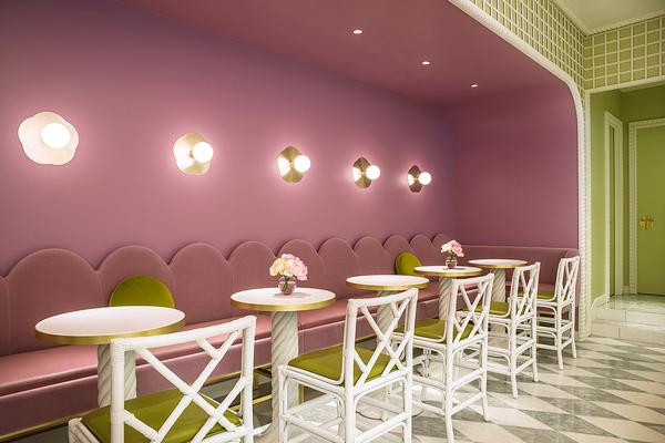 Mahdavi designed pastel interiors for the recently opened Laduree store and cafe in Tokyo