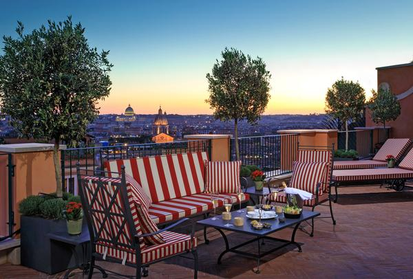 The Canova Suite, one of the hotel's top suites, features an outdoor terrace with views across the city