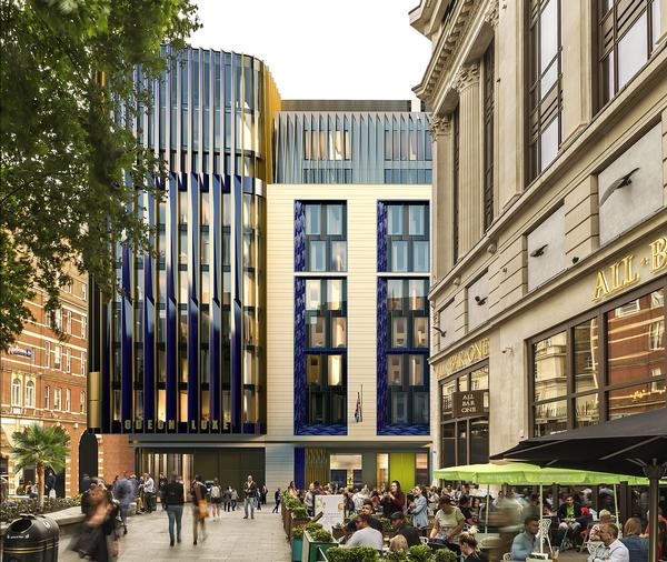 According to Woods Bagot, 'This 15-storey project will sensitively integrate itself into the historic south west corner of Leicester Square'