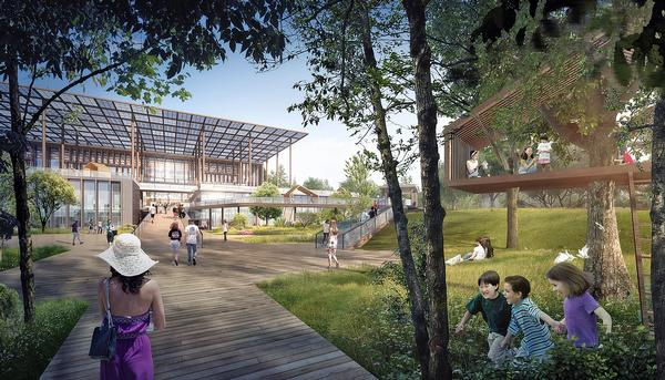 The site has been designed to create a wind tunnel to ventilate the library's open air spaces