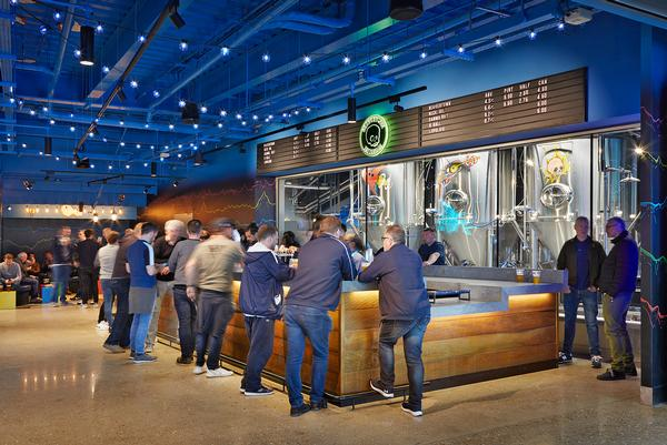 The stadium features a range of bars as well as an onsite craft beer microbrewery