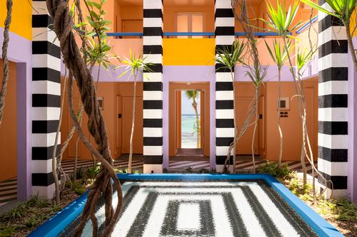 Taking an existing geometric, riad-like building on the fringe of Palmar beach, Adam repurposed the standing structures to accentuate the hotel's proximity to the sea