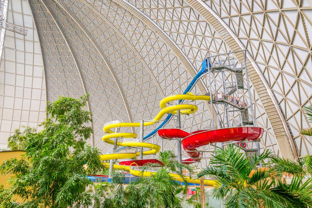 Tropical Islands is a combination of a water park and other leisure offerings with various lodging facilities that stay open year-round due to its indoor setting / Shutterstock.com