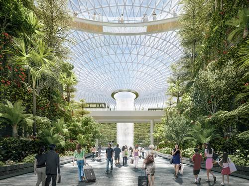 The indoor park will contain a number of leisure amenities, including a waterfall and Canopy Park. / Courtesy of Moshe Safdie Architects