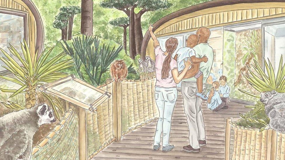 The zoo will place a major emphasis on conservation, education and saving threatened species and will feature exotic species from Madagascar, as well as lemurs and birds of prey / Manchester Zoo