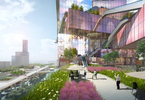 The Twin Towers will feature hotels, a sunken plaza, and multiple commercial facilities. / Courtesy of MVRDV