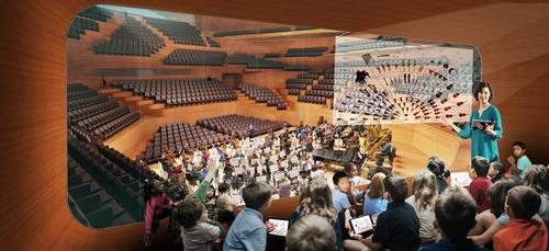 The surround-seat main concert hall is designed by leading Japanese firm Nagata Acoustics. / Courtesy of Diller Scofdio + Renfro