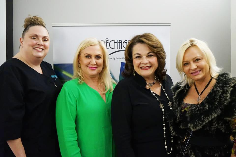 Lydia Sarfati (second from right) joined faculty members and students from Bellus Academy's aesthetics department to launch CIDESCO USA's first qualification