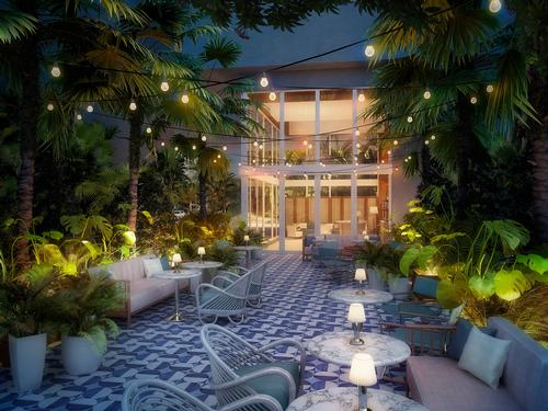 Guests will be able to dine al fresco in Mr. C's on-site garden. / Courtesy of Mr. C Hotels