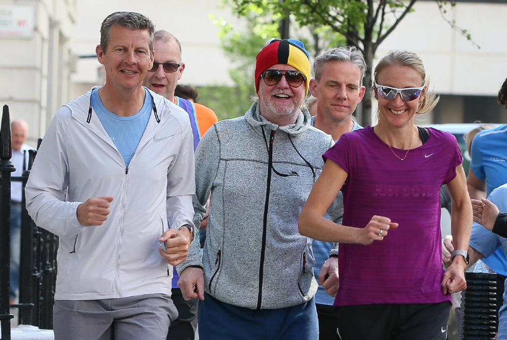 The event will be spearheaded by Chris Evans (middle) and includes inspirational talks by famous runners, such as Steve Cram (left) and Paula Radcliffe (right) / RunFestRun.co.uk