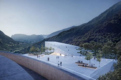 Outdoor features will include a multipurpose amphitheatre and rooftop terrace, as well as landscaped public realm. / Courtesy of moka-studio and Snøhetta