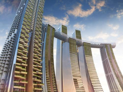 The property is slated to be completed this year. / Courtesy of CapitaLand/Safdie Architects