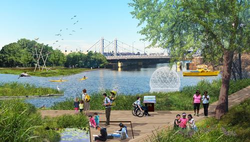 Wild Mile Chicago will feature public walkways, nature reserves, and kayaking access points. / Courtesy of SOM