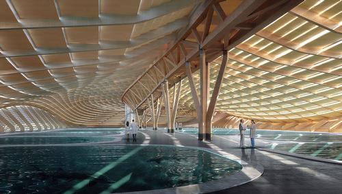 The centre will play host to indoor and outdoor pools that will mimic natural habitats. / Courtesy of Ennead Architects