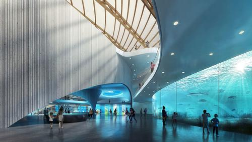 The aquarium will feature exhibition halls, walkways, and an auditorium. / Courtesy of Ennead Architects