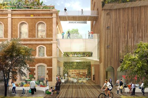 The property will play host to apartment units, a market, a theatre, a cantine, and an extensive public garden. / Courtesy of Lina Ghotmeh