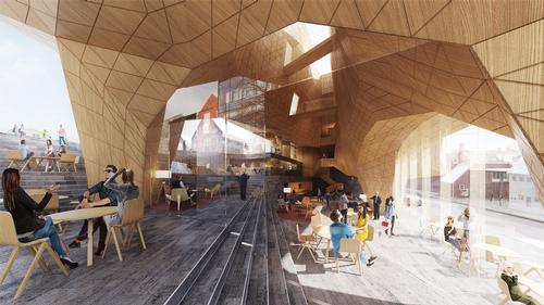 The foyer will adjoin a glass entryway and function as a communal meeting place. / Courtesy of Henning Larsen