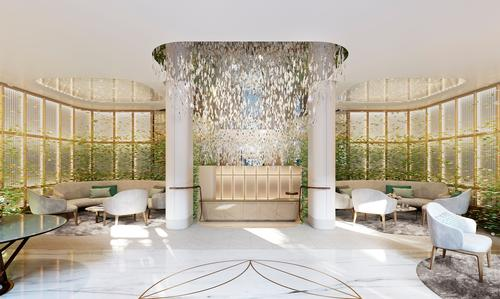 The property's lobby will be fitted with a bespoke Lasvit chandelier. / Courtesy of Clivedale London