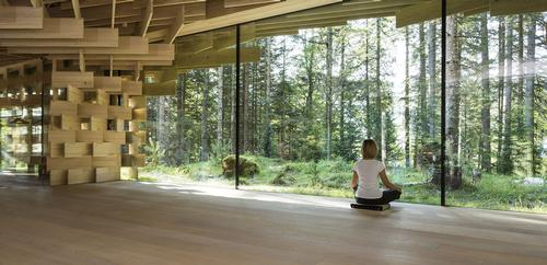 The outbuilding features a tea lounge and an 80 sq m meditation room. / Image courtesy of Das Kranzbach