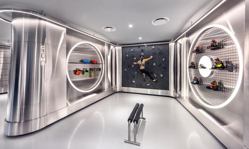Customers can try out Durasport's heat-mouldable trainers on the store's built-in climbing wall. / Courtesy of Ministry of Design