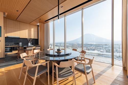 Skye Niseko houses a restaurant, three onsen spas, and a gym, plus a number of hotel rooms and apartments. / Courtesy of Skye Niseko