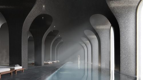 The spa centre will comprise three pools, a sauna room, and a massage chamber. / Rendering by Binyan Studios