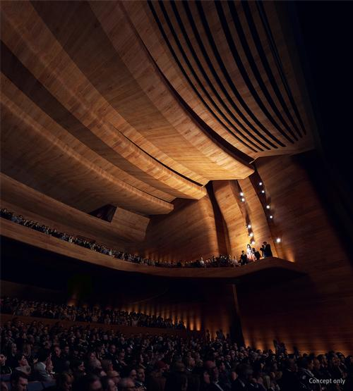 The new building will house a large balcony auditorium. / Courtesy of Snøhetta and Blight Rayner